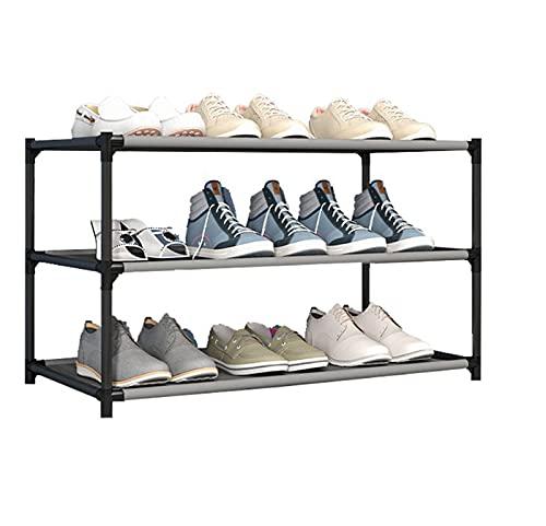 LGWZ Estructura De Almacenamiento De Zapatos Fáciles De Ensamblar, Tubo De Acero Grueso Y Rejilla No Tejida, Estante De Acero Portátil, Perchero para Hombres Y Mujeres (Negro),3