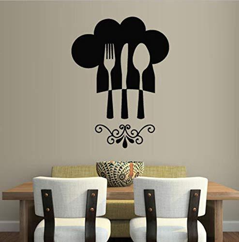 Lepel Mes Vork Muurtattoo Keuken Restaurant Decoratie Muur Chef Hoed Grafische Kunst Vinyl Muursticker Waterdicht Creatief 42X56 Cm