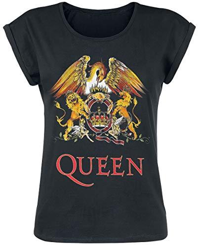 Queen Classic Crest Frauen T-Shirt schwarz S 100% Baumwolle Band-Merch, Bands