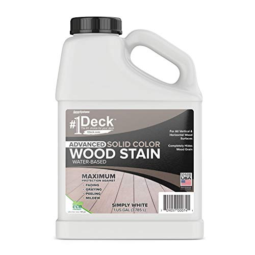 #1 Deck Wood Deck Paint and Sealer - Advanced Solid Color Deck Stain for Decks, Fences, Siding - 1 Gallon (Simply White)