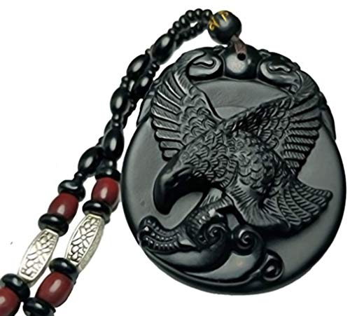 c1lint7785631 Natural Obsidian Frosted Pendant Necklace Realize One's Ambition Fly Eagle Hawk Men or Women Spread Wings Goofy Eagle Necklace Pendant The Eagle is a Totem