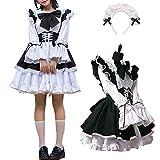 WSTERAO Anime japonés Sissy Maid Dress Cosplay Sweet Classic Mujeres Cosplay Delantal francés Maid Disfraz Disfraz de Lujo Cosplay Traje de Manga Corta Traje de Club