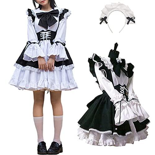 Traje de criada para mujer, vestido largo anime vestido negro y blanco, disfraz de cosplay para cuatro estaciones