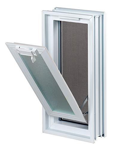 FUCHS Lüftungsfenster Weiß anstatt 2 Glassteine im Format 19x19x8 cm (189x384x80 mm)– mit Fliegengitter