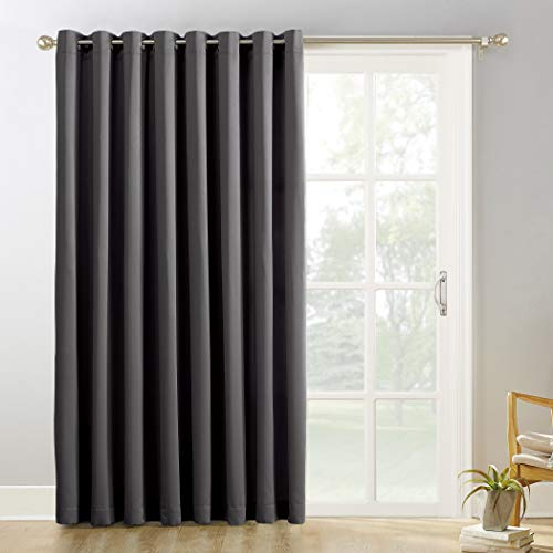 """Sun Zero Easton Extra-Wide Blackout Sliding Patio Door Curtain Panel with Pull Wand, 100"""" x 84"""", Charcoal Gray"""