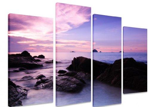 """Art Depot Outlet - QUadro da parete, su tela, motivo \""""Isola tropicale con amaca, spiaggia, sole, cielo azzurro, albero e mare\"""", 101x71cm, 4 pezzi"""