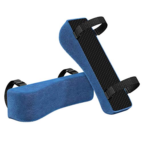 Chair Armrest Pads (2 Pack), Yasolote Padded Armrest Cushion Pads with Memory Foam Elbow Pillow for Forearm Pressure Relief,Arm Chair Covers for Office Chairs,Wheelchair,Comfy Gaming Chair (Blue)