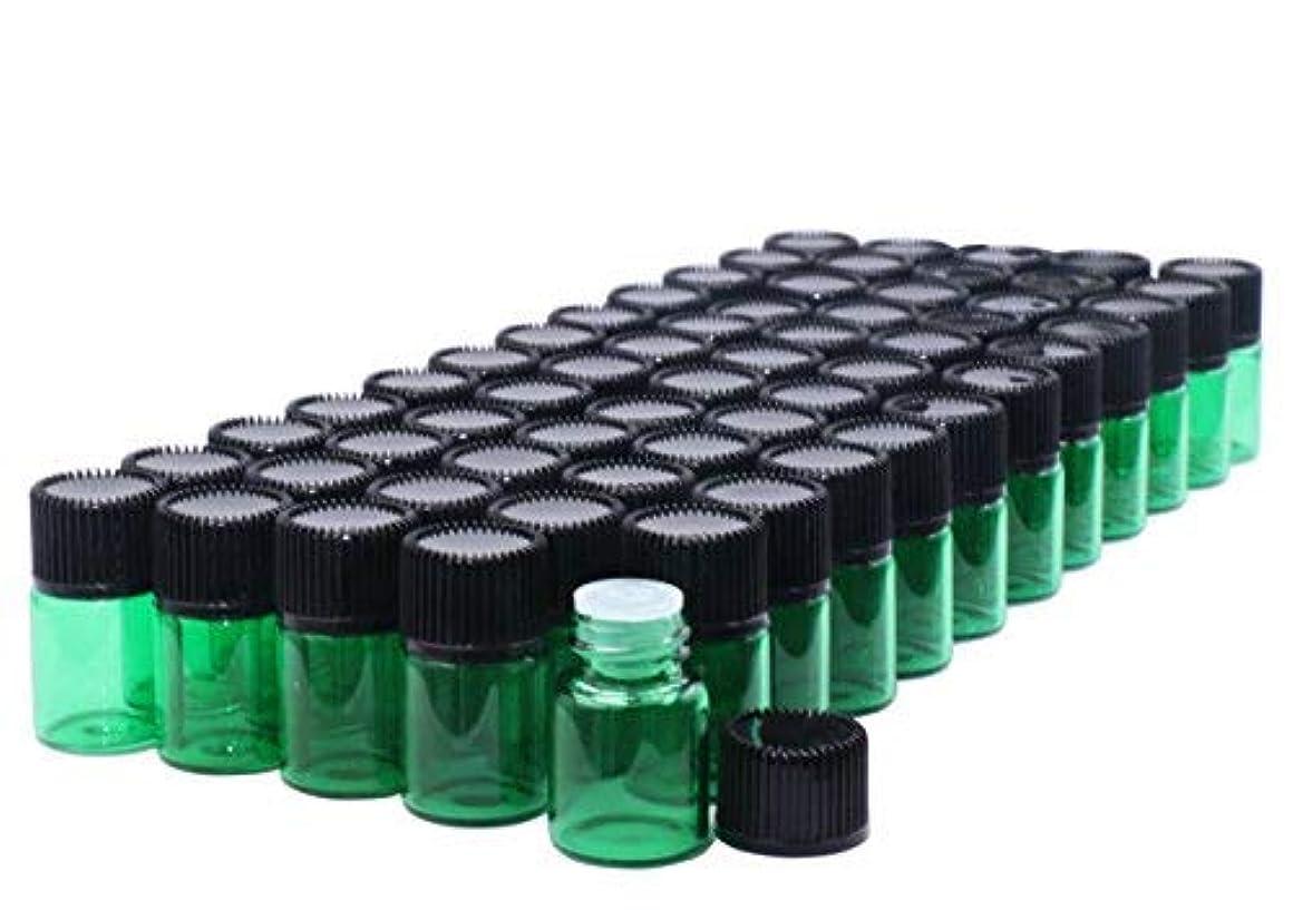 手術学校教育事務所Pack of 60,2 ml (5/8 Dram) Green Glass Sample Vials Empty Small glass essential oil sampling Test Bottles with Orifice Reducers & Caps For DIY Aromatherapy Blends Travel essential-2 Dropper included [並行輸入品]