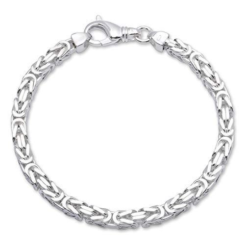 Valone Königskette Armband Silber, echtes 925 Silber, rhodiniert, diamantiert, vierkant mit hochwertigem Karabinerverschluss (Rhodiniertes Silber/Breite 4.2mm, 22.00)