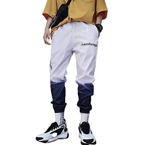 Pantalones de chándal de Bloqueo de Color con Estampado Degradado para Hombre, Tendencia de Moda, Ajuste Relajado, Entrenamiento Informal, Pantalones de Hip Hop para Correr L