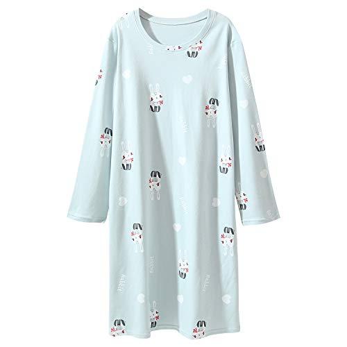 AOSKERA Blau Nachthemd für Mädchen Kaninchen Nachtwäsche Baumwolle 9-10 Jahre