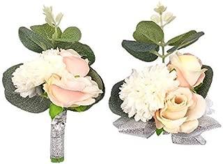 Abbie Home Wedding Wrist Corsage Brooch Boutonniere Set Party Prom Hand Flower Decor (Set 520)