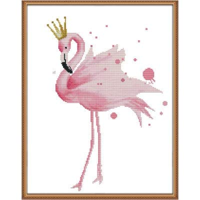 Needlework DIY Kreuzstich-Set for Stickerei Kit Flamingo-Vogel-Druck-Muster Kreuzstich-Hochzeits-Geschenk-Ausgangsdekor (Color : B, Size : 11ct printed canva)