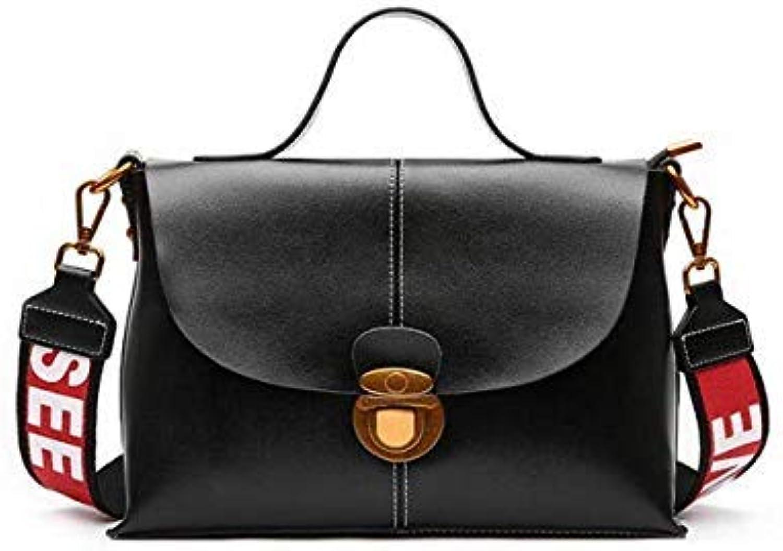 Bloomerang Foxtail & Lily Wide Strap Women Genuine Leather Shoulder Bag Elegant Messenger Bag Female Famous Designer Handbags High Quality color Black 29 x 11 x 19 cm