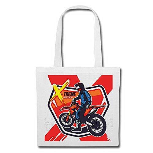 Tasche Umhängetasche Motocross EXTREM Sport Motocross Outdoor Motocross Bike CROSSBIKE Freestyle Einkaufstasche Schulbeutel Turnbeutel in Weiß