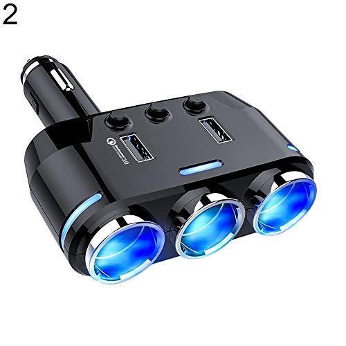 KFZ-Ladegerät für iPhone XS/XR/XS Max, Galaxy S9, LG, Nexus, HTC, 3-Wege-Zigarettenanzünder-Adapter, Dual USB QC3.0 Autoladegerät – 1#, schwarz