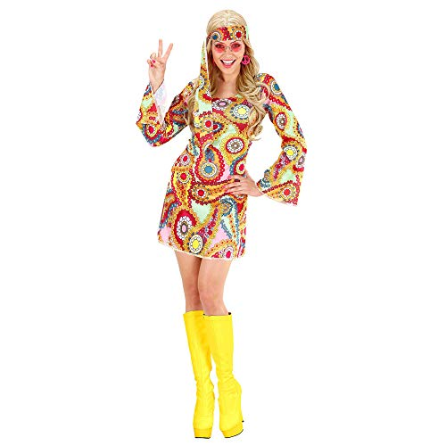 Ladies Psychedelic Hippie Girl Dress Costume with Headband.  Four Sizes S to XL.