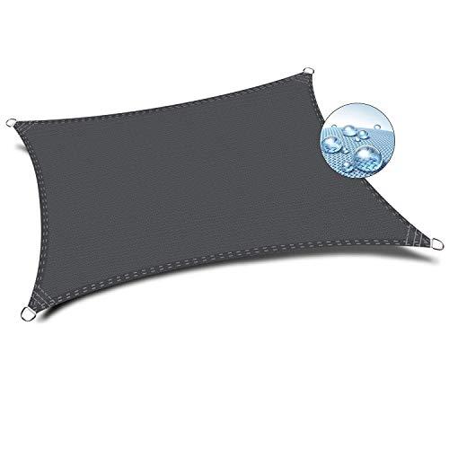 Flei Sun Segel, Schattenspender, UV Schutz Wetterschutz wasserabweisend imprägniert für Garten Balkon und Terrasse - Dunkelgrau 5.5x7m