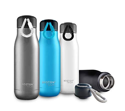 Boston Tech SP1 - Botella de Agua de Acero Inoxidable Sin BPA con Tapón Hermético a Prueba de Fugas. Doble Capa envasado al Vacío Mantiene Las Bebidas frías o Calientes por 24 Horas