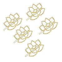 Lurroseゴールドヘアバレット蓮形メタルヘアピンブライダルスナップヘアピンヘアグリップアクセサリー用女性女の子5ピース