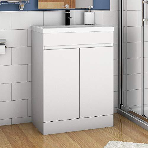 Aica Sanitär Badmöbel Set 50 cm Athem Keramik Waschbecken mit Unterschrank Waschtisch Weiß