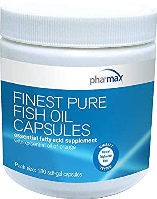 Pharmax - Finest Pure Fish Oil Capsules - Supports Cognitive Health and Brain Function - 180 Capsules