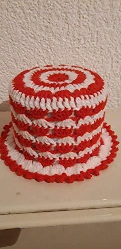 (16) Klopapierhut Klohut in Rot und Weiß gehäkelt Auto Fußball Kult Geschenk Scherzartikel