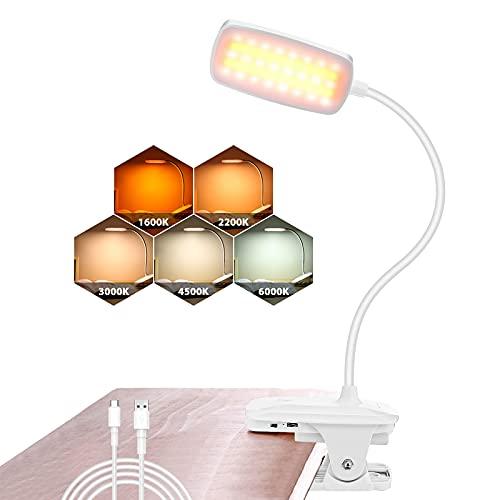 Leselampe Buch Klemme, AMBOTHER 48 LEDs Klemmlampe, Klemmleuchte 5 Farbtemperatur Dimmbar, Schreibtischlampe Nachtlicht, USB Wiederaufladbare Touch-Steuerung Flexibel Bettlampe für Nachttisch Bett