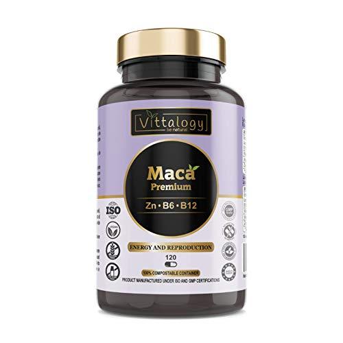 Vittalogy Maca Premium. Maca Andina Pura 4000 mg Con Vitaminas B6 Y B12 Y Zinc. Raíz De Maca Peruana Potenciadora Del Deseo Sexual, La Libido Y La Fertilidad. Vigorizante. 120 Cápsulas.