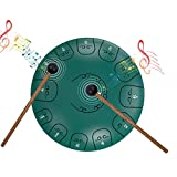 EiDevo Tamburo in Acciaio,12 Pollici 13-Tone Steel Pan Tongue Drum,Tamburo Handpan Strumento a Percussione Tamburo a Mano,Portatile Tamburo del Handpan per l'educazione alla musica da yoga