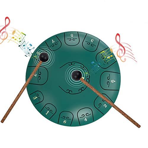 EiDevo Steel Tongue Drum,12 Zoll 13 Tone Schlaginstrument Hand Pan Drum,Percussion Instrument Steel Pan Drum,Geeignet für Die Meditation Yoga Musikausbildung