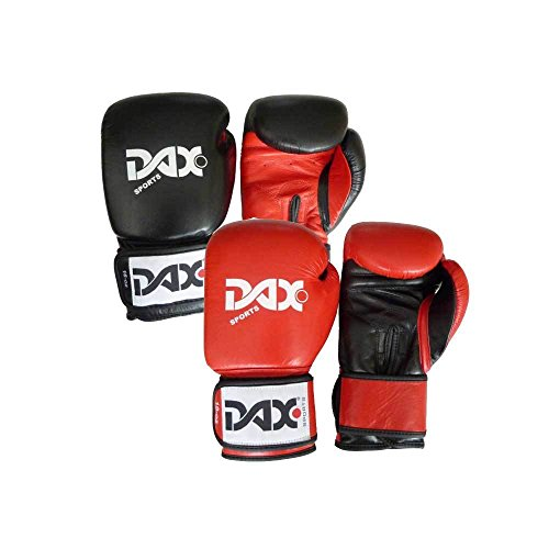 DAX Leder-Boxhandschuhe Comfort 16oz schwarz-rot