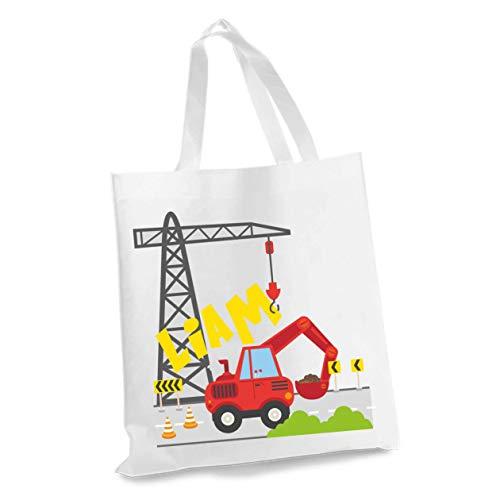 wolga-kreativ Stofftasche Einkaufstasche Bagger mit Name Stoffbeutel Kindertasche Sportbeutel Schuhbeutel Wäschebeutel Stoffsäckchen Jutebeutel Schultertasche Junge