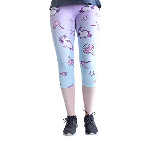 cosey - Capri-Leggings Coloridos Impresos (Talla única) - Design Unicornios y Dulces