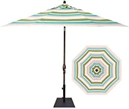 AuthenTEAK 9' Octagonal Push Button Tilt Umbrella (Ocean Breeze Stripe - Grade C Canopy)