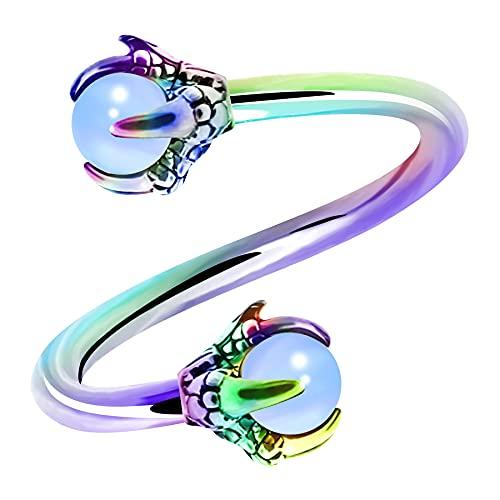 OUFER Twist Helix - Pendiente de Acero Inoxidable 316L con Centro de opalita de 16 G Twist Lip Labret Piercing Piercing para el Ombligo
