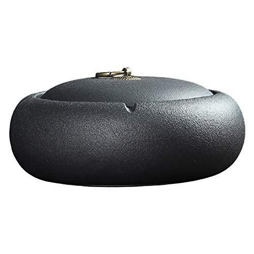 CENICEROS Tao cerámica Negra Grande a Prueba de Viento al Aire Libre para Cigarrillos con Tapa de la Sala de Estar Ascendente
