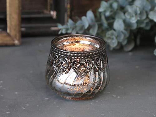 Chic Antique Teelichthalter Windlicht Kerzenglas Glas Bauernsilber Deko Landhaus Nostalgie Shabby French