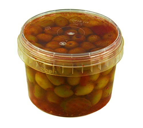 Hymor grüne Oliven pikant entsteint - 6x 380g Behälter - Oliven aus Marokko ohne Kern Marokkanische Olive eingelegt in Lake vegan, glutenfrei, zu Tapas, Salaten, beim Kochen