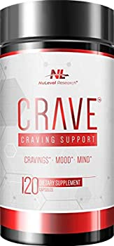 NuLevel Research  Crave - Craving Support - Daily Cravings Mood & Mind Supplement - 120 Capsules - with High Dose NAC & Chromium - Non-GMO No Soy or Gluten