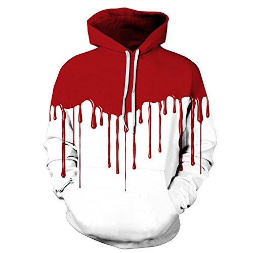 Sudaderas con capucha para hombre y mujer, con estampado 3D rojo y blanco, bolsillos y mangas largas (S-XXXL) color Large-X-Large