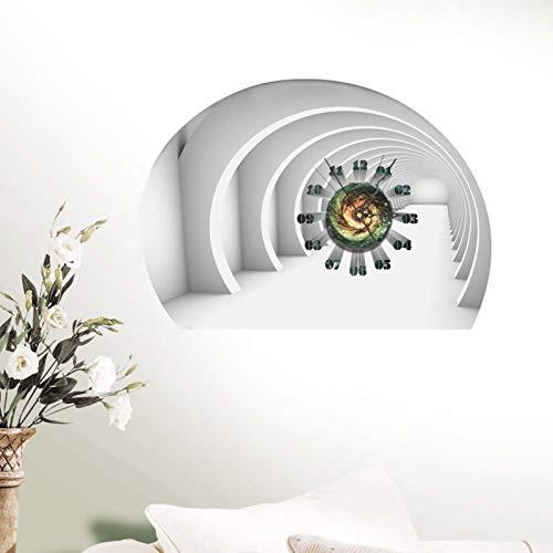 Lefran Cartoon Kratzen Wanduhr Kunst-dekor,3D Rahmenlos Leise Aufkleber DIY Mini Modernen Spiegel-Wanduhr Rahmenlose Wanduhren,DIY Wanduhr Aufkleber-N Diameter:20cm(7.9inch)