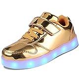 kealux Zapatos LED para niños Zapatos Unisex de tacón bajo con Luces Zapatillas Doradas con LED parpadeantes Zapatos Transpirables con Carga USB (niñas/niños) - 27