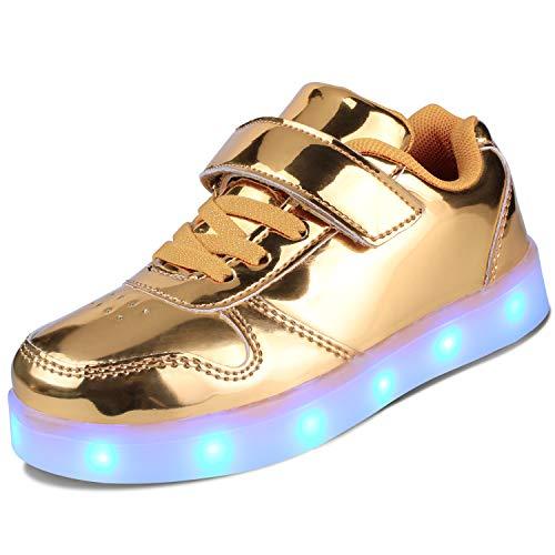 kealux Zapatos LED para niños Zapatos Unisex de tacón bajo con Luces Zapatillas Doradas con LED parpadeantes Zapatos Transpirables con Carga USB (niñas/niños) - 37