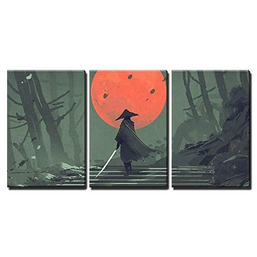 Cuadro decorativo sobre lienzo, japonés, estilo samurái, dibujo en el bosque de noche, decoración de casa, póster modular, fotos, pared, lienzo pintado, impresión para el salón, 30 x 40 cm