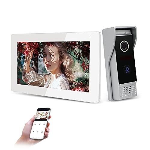 JeaTone Smart Home - Videoportero automático IP-WIFI de 7 pulgadas para casa con pantalla táctil de 1,0 MP, cámara exterior con control remoto Tuya