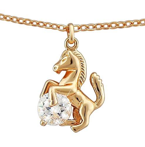 veuer gioielli per donna Noble Collana della catena in bronzo placcato oro rosa placcato oro per cavalli Rave ragazza regalo da Natale per la fidanzata/matrimonio della Donna/donne