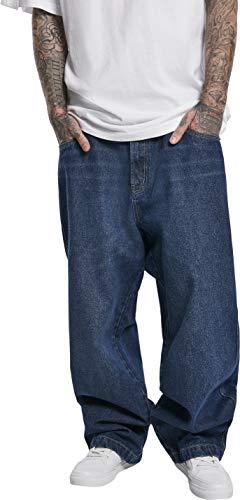 Southpole Herren Hose Logo Baggy Pants Jeans, Washed mid Blue, 32