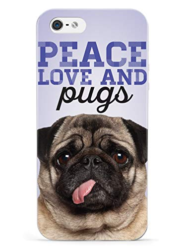 Inspired Cases - 3D Textured iPhone 5/5s/5SE Case - Rubber Bumper Cover - Protective Phone Case for Apple iPhone 5/5s/5SE - Peace Love and Pugs - Real Life