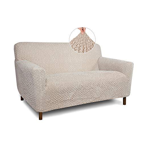 Funda de sofá para sofá de Loveseat – Fundas de sofá de sofá – Fundas de tela de poliéster suave – 1 pieza de forma ajustada a la forma de la funda de muebles – Colección de terciopelo – Vainilla